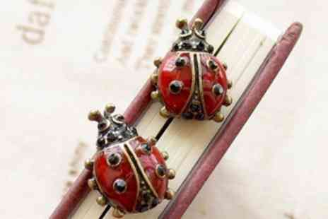 Wonder Gifts - Pair of ladybird enamel stud earrings - Save 97%