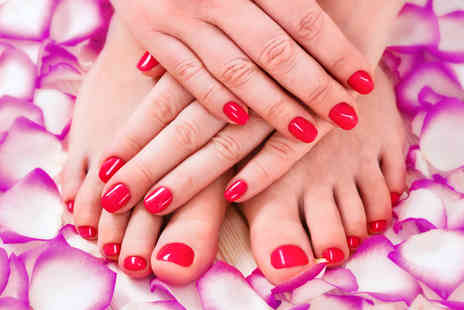 Reflective Beauty - 90 minute luxury paraffin wax manicure and pedicure with gel overlays - Save 70%