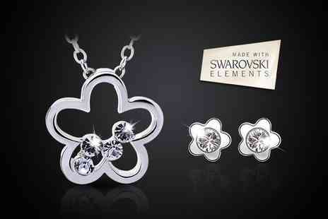 Essential Silver - Flaunt a clear flower blossom necklace and earring set with SWAROVSKI ELEMENTS - Save 50%