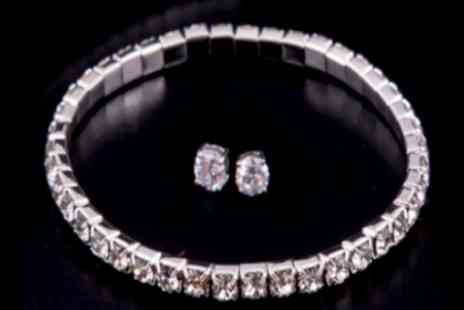 Russian Ice - Tennis bracelet and solitaire set made with Swarovski elements - Save 98%