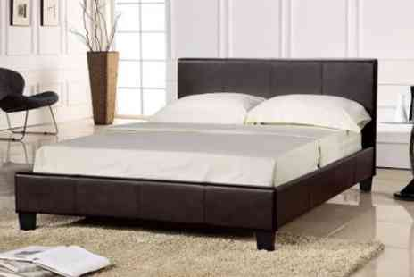 Visco Therapy - Faux leather double bed and memory foam mattress - Save 57%
