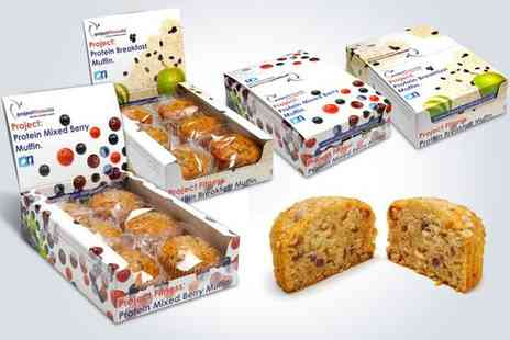 Project Fitness - Start the day with a 24 pack of breakfast and mixed berry protein muffins - Save 50%