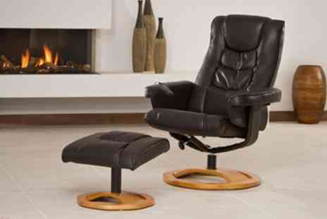 Sofa Collection - Bonded Leather Reclining Swivel Chair - Save 70%