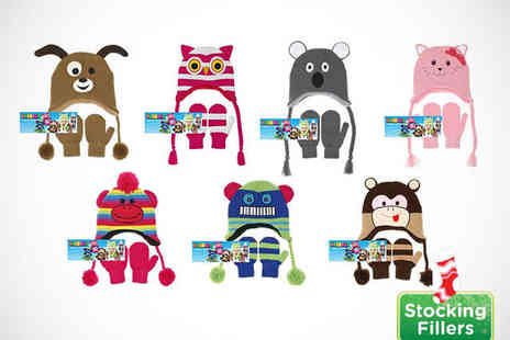 Pamper Me - Beanie and Mittens Set in Choice of Seven Animal Designs for Ages  - Save 50%