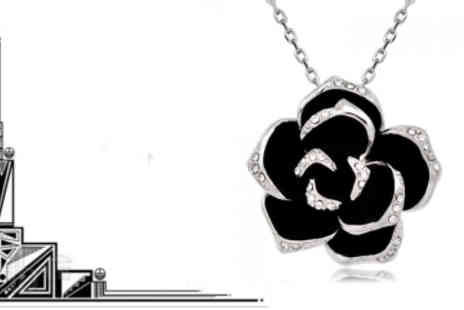 eLondon Diamonds - Black Rose Swarovski Elements Crystal Necklace - Save 75%