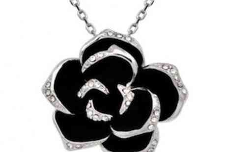 E London Diamonds - Stunning Black Rose Necklace Made With Swarovski Elements - Save 82%
