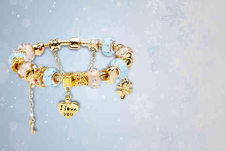 Pinkacci - Murano glass charm bracelet in a choice of 2 styles - Save 88%