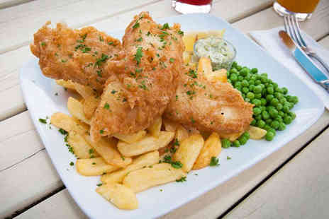 The Cross Hands - Beer Battered Fish and Chips and Glass of Wine Each for Two  - Save 52%