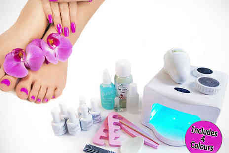Gellure from Body Reform - Gellure Manicure and Pedicure Home Kit with 36 Watt UV Lamp and Four Colour Polishes - Save 67%
