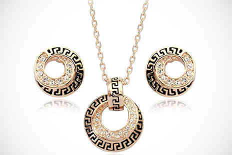 Trinkets - 18 Karat Rose Gold Plated Necklace and Earring Set with Swarovski Elements - Save 68%