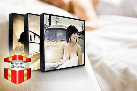 The Image Box - Three 5 x 5 wooden photo blocks display your pictures in style - Save 73%