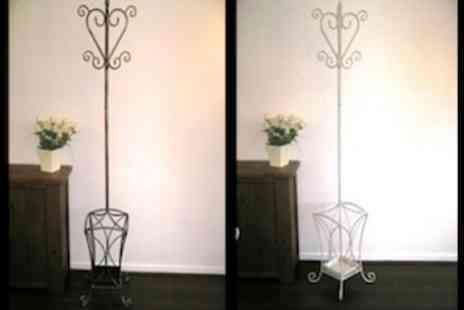 Garden Games - Wrought Iron Coat Stand  Available in Black, Cream, Brushed Gold/ Silver - Save 67%