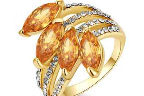 DealWizz - 18K Yellow Gold Plated studded with SWAROVSKY Austrian crystal stones - Save 50%