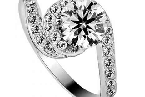 DealWizz - Most special Shaped Crystal Stone Ring SWAROVSKY Diamond 1.5CT, 18K White Gold Plated - Save 50%