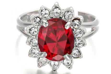 DealWizz - Sun Flower Ring 18K Platinum Plated, With Hypnotic Red Sapphire and SWAROVSKY Crystal Stones - Save 50%