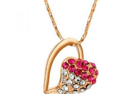 DealWizz - Stunning Heart Necklace with Colourful SWAROVSKY Austrian Crystal Stones 18K Rose Gold Plated - Save 50%