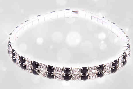 Platinum Bay - Gorgeous two row black & clear crystal bangle - Save 97%