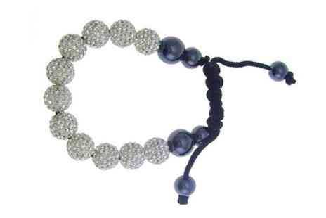 BJB Limited - Clear or Black Crystal Bead Bracelets - Save 80%