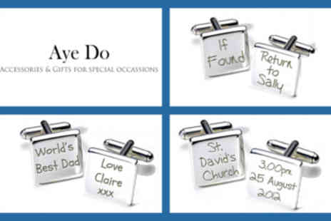 Aye Do - Personalised Engraved Cufflinks - Save 26%