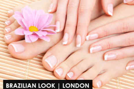 Brazilian Look - Full Manicure & Pedicure - Save 60%