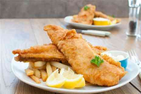 FISH DISH - Posh Fish and Chips With Wine or Beer For Two - Save 58%