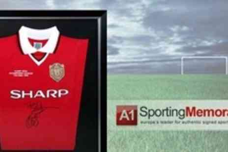 A1 Sporting Memorabilia - Framed and Signed Manchester United 1999 Champions League Final Replica Shirt - Save 58%
