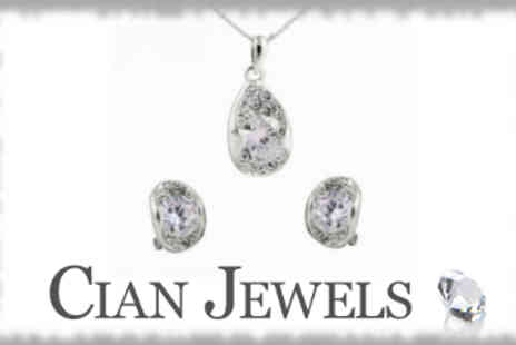 Cian Jewels - Crystal Silver Pendant and Earring Set - Save 80%