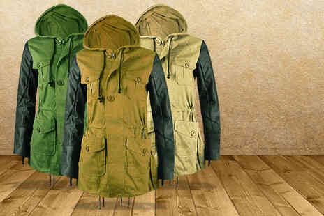 Karma Clothing - Classic military parka with faux leather sleeves - Save 50%