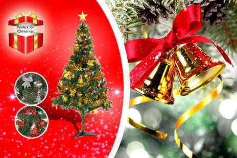 Wowcher Stores - Six Feet Christmas tree with Seventy Five piece decoration kit - Save 50%