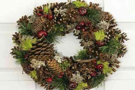 Debenhams Flowers - Red Berry Pinecone Wreath Reusable Flowers - Save 50%