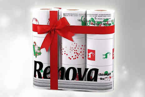 Onevolution - Nine pack of festive toilet rolls  - Save 67%