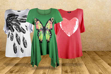 Lovedrobe - Choice of plus size patterned T shirts - Save 68%