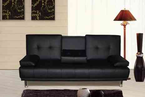 crazypricebeds.com - New Manhattan Luxury 3 Seater Sofa Bed With Fold Down DrinksTable - Save 66%