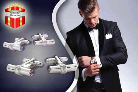 ICE London - Pair of Swarovski Elements T bar cufflinks or personalised silver plated cufflinks - Save 63%