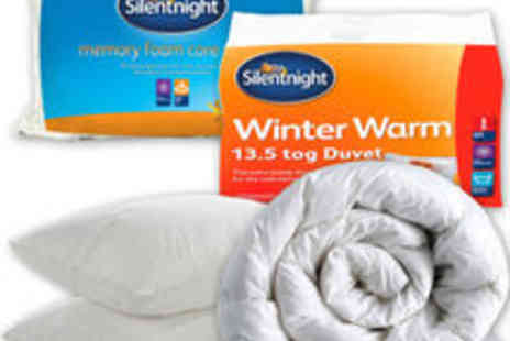 UK Bedding - Silentnight Winter Warm 13.5 tog Duvet Double Plus 2 Memory Foam Core Pillows - Save 80%