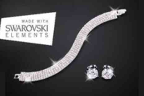 Lily Nicole - Five row pave tennis bracelet and earrings made with Swarovski elements - Save 93%