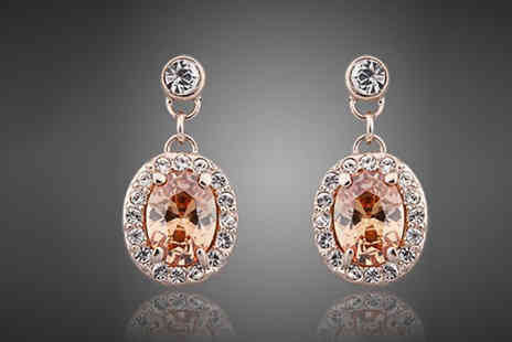 Spa Shopping - 18K rose gold plated orange drop earrings - Save 87%