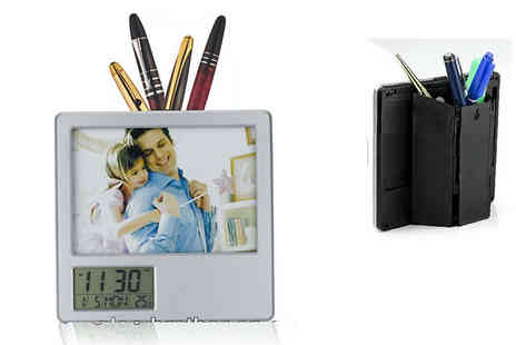 channel goods - Pen holder, LCD calendar clock & photo frame in one - Save 72%