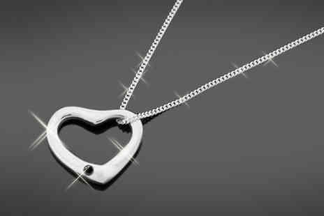 Jazzydeals - Sterling silver heart diamond pendant necklace - Save 86%