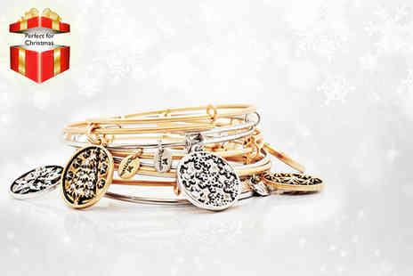 Silver Willow - Gold or silver plated expandable festive charm bangle - Save 47%