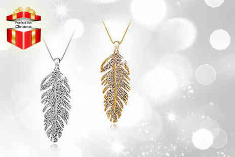 Moonshine Boutique - Shimmering gold plated or white gold plated crystal feather pendant - Save 88%