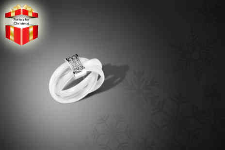 Nirbana Soul - Stylish ceramic and crystal ring in white - Save 81%