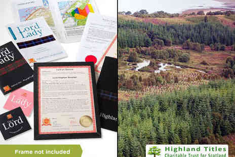 Highland Titles - One Square Foot Souvenir Plot of Scottish Land with Tree Planting Certificate Plus Use the Title Laird Lord or Lady - Save 65%