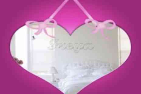 Mungai Mirrors - Child Safe Heart Shaped Acrylic Mirror With Ribbon Personalised With Your Name  - Save 44%