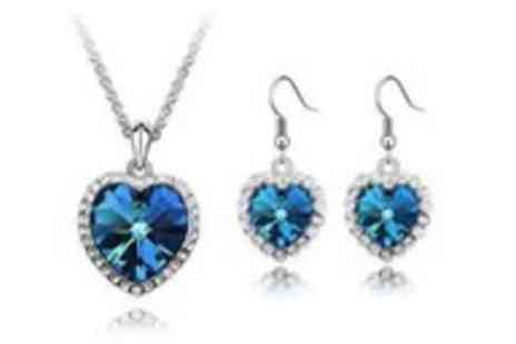 Simply Jewellery - Swarovski crystal elements blue heart set - Save 93%