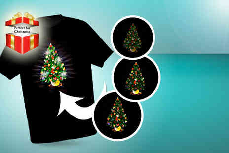 Christmas T Shirts - Unisex LED light up choice of 3 designs - Save 45%