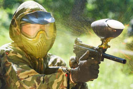 All Out Paintball - Full Day Paintballing Experience with Lunch and 100 Paintballs Per Person for Five  - Save 87%