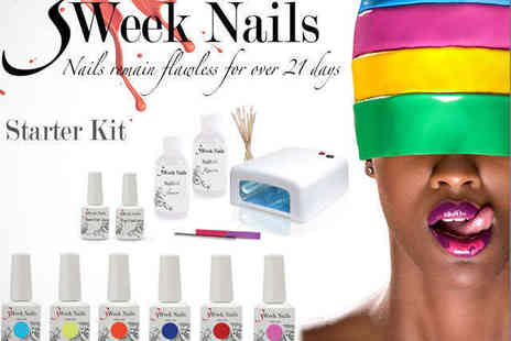 Three Week Nails - Gel Manicure Starter Kit with UV Lamp Top and Base Coat, and Choice of Four  - Save 70%
