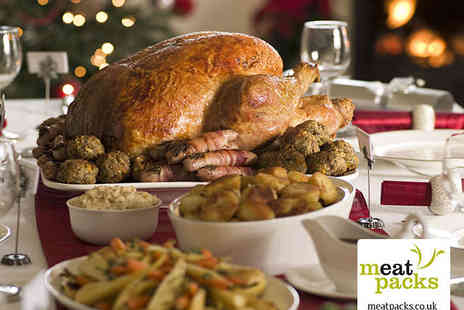 Meatpacks - Christmas Meat Pack with Whole Turkey, Pork, Gammon, Chipolatas, Bacon, and Stuffing - Save 50%