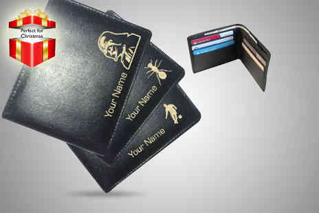 Notts Laser - Personalised mens leather wallet in your choice of design - Save 62%